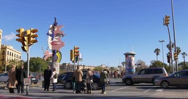 lumière du soleil baie de barcelone monument vue 4k espagne