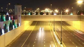 Gold Licht Verkehr Straße Zeitraffer Dubai Stadt