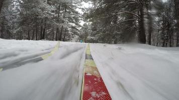 Concept Winter Healthy Lifstyle. Cross Country Skiing on Snowy Winter Day. POV