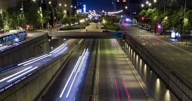Night scene of urban traffic.Time Lapse - Trail effect - Long exposure - 4K. (03)