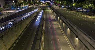 Night scene of urban traffic.Time Lapse - Trail effect - Long exposure - 4K. (01)