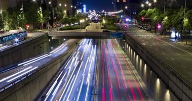 Cinemagraph of night scene of urban traffic.Time Lapse - Trail effect - Long exposure - 4K. (03)