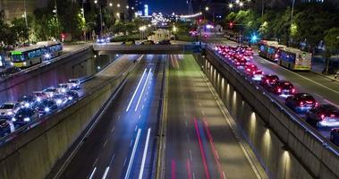 Double Cinemagraph of night scene of urban traffic.Time Lapse - Trail effect - Long exposure - 4K. (02)