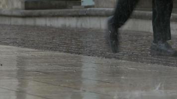 lloviendo gotas sobre el pavimento