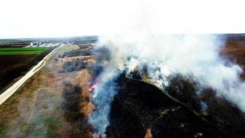 vista aerea di erba secca che brucia nella steppa