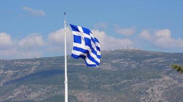 One single greek flag on acropolis hill, athens, greece, 4k