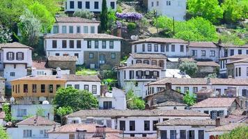 Timelapse of Historical White Houses, Sirince Village, Turkey, zoom in