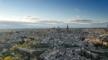 Hight quality panning shot of Toledo in sunset lights, Spain. UHD video