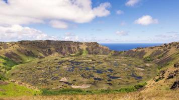 Time lapse of Clouds flow over the Volcano Rano Kau at  Rapa Nui, Easter Island Chile