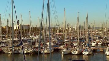 Harbour in Barcelona of Spain with many sailboats