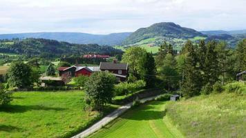 norwegische ländliche Dorflandschaft mit grünem Bauernhofblick
