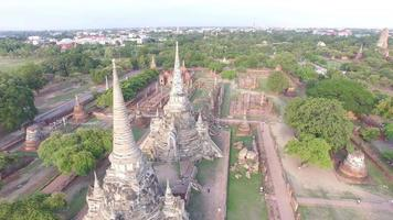 Aerial view of Wat Phra Sri Sanphet in Ayutthaya, Thailand. video