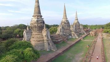 Aerial view of of Wat Phra Sri Sanphet in Ayutthaya, Thailand. video
