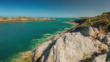 Frankreich Sommer Morgen berühmten Golf Bay Panorama 4k Zeitraffer video