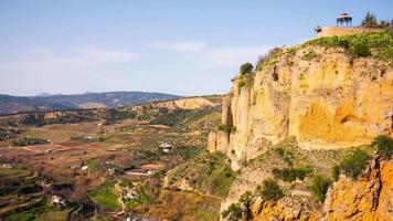 sunny day ronda famous view panorama 4k time lapse spain