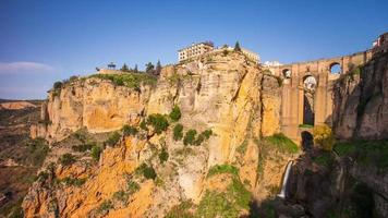 sunny day famous spain place ronda mountain city 4k time lapse