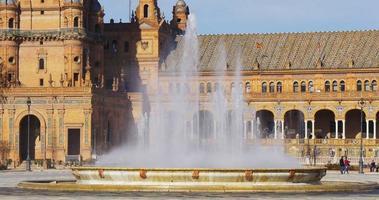 fontana di luce del sole di plaza de espana 4k siviglia spagna video