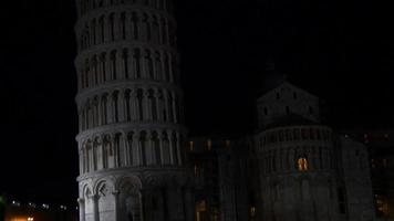 italy night illumination famous pisa tower and duomo entrance front panorama 4k video
