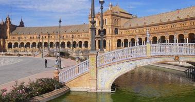 siviglia plaza de espana giornata di sole panoramam 4k spagna
