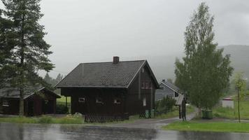 Nordic heavy rain, village near Oslo, Norway video