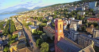 Aerial view of Red church in Neuchatel, Switzerland