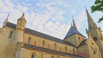 view of Collegiale Church in Neuchatel, Switzerland