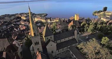 aerial view of Collegiale Church in Neuchatel, Switzerland