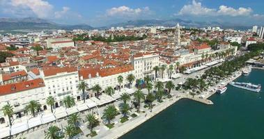Aerial view of marina in Split, Croatia video