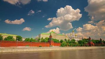 russia moscow summer day river kremlin wall panorama 4k hyper time lapse