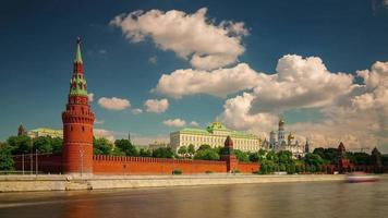 russia moscow sunny day river bay kremlin wall panorama 4k time lapse video