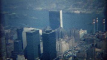 1968: Dirty city skyline with Americana building sign featured. video