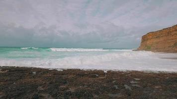 Ocean Waves Incoming on Stone Beach video
