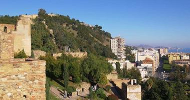 Málaga, soleado, alcazaba, castillo, ciudad, bahía, vista, 4k