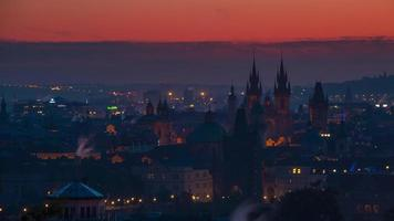 Rooftops of Prague and the Morning. Time Lapse UHD