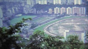 HONG KONG 1973: Polo field view from Victoria Peak Hong Kong harbor.