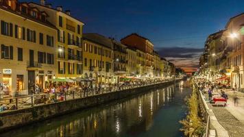 italia tramonto milano ripa di porta ticinese canal grande lato ristorante panorama 4k lasso di tempo video