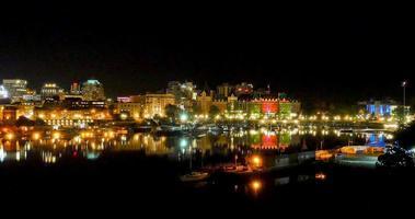 4k victoria canada port et hôtel impératrice la nuit, réflexion