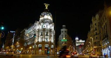 spagna gran via madrid notte luce metropoli hotel edificio 4k