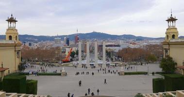 palácio real de barcelona praça espaniya vista panorâmica 4k espanha