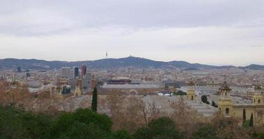 vista panorâmica da cidade do palácio real de barcelona 4k espanha