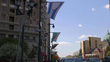 Estados Unidos horario de verano banderas nacionales de Filadelfia en la calle 4k