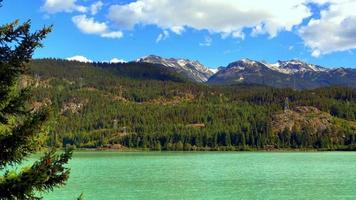 Green Mountain Lake, Forest Hillside and Blue Sky Background, Turquoise Water video