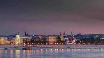 Panorama de la bahía al atardecer de la ciudad de irkutsk de Rusia 4k lapso de tiempo siberia