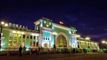 russia novosibirsk city night light central railway station square 4k time lapse