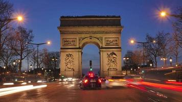 Arc de triomphe on the Champs Elysées-Paris-France (Time Lapse)