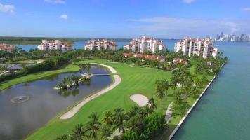 video aéreo fisher island miami beach florida 4k
