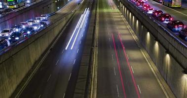 Cinemagraph of night scene of urban traffic.Time Lapse - Trail effect - Long exposure