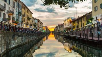 Italia tramonto milano ripa di porta ticinese grande canal panorama 4k lasso di tempo video