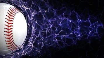 bola de beisebol em partículas abstratas azuis anel, loop, 4k video