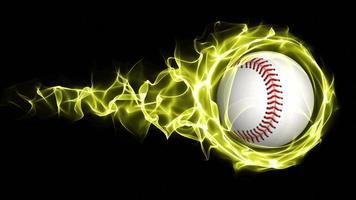 palla da baseball in fiamme gialle particelle astratte anello, ciclo, 4K